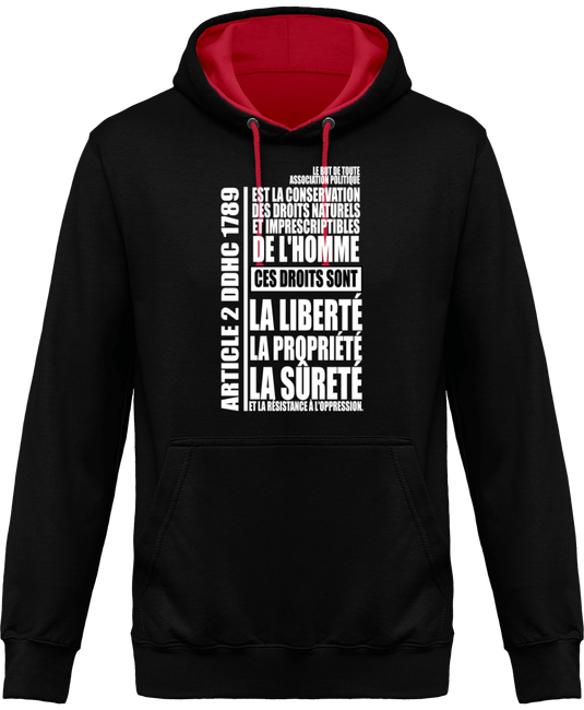 Sweat capuche bicolore sweat a capuche article 2 ddhc 1789 face