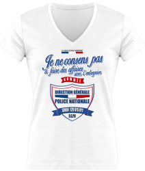 Tshirt Femme - Col V - Pas de contrat avec la POLICE