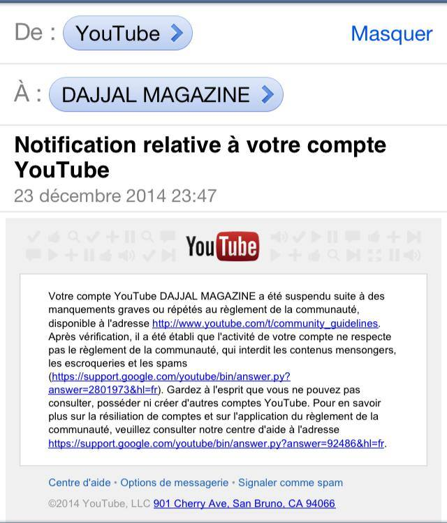 Compte supprime youtube