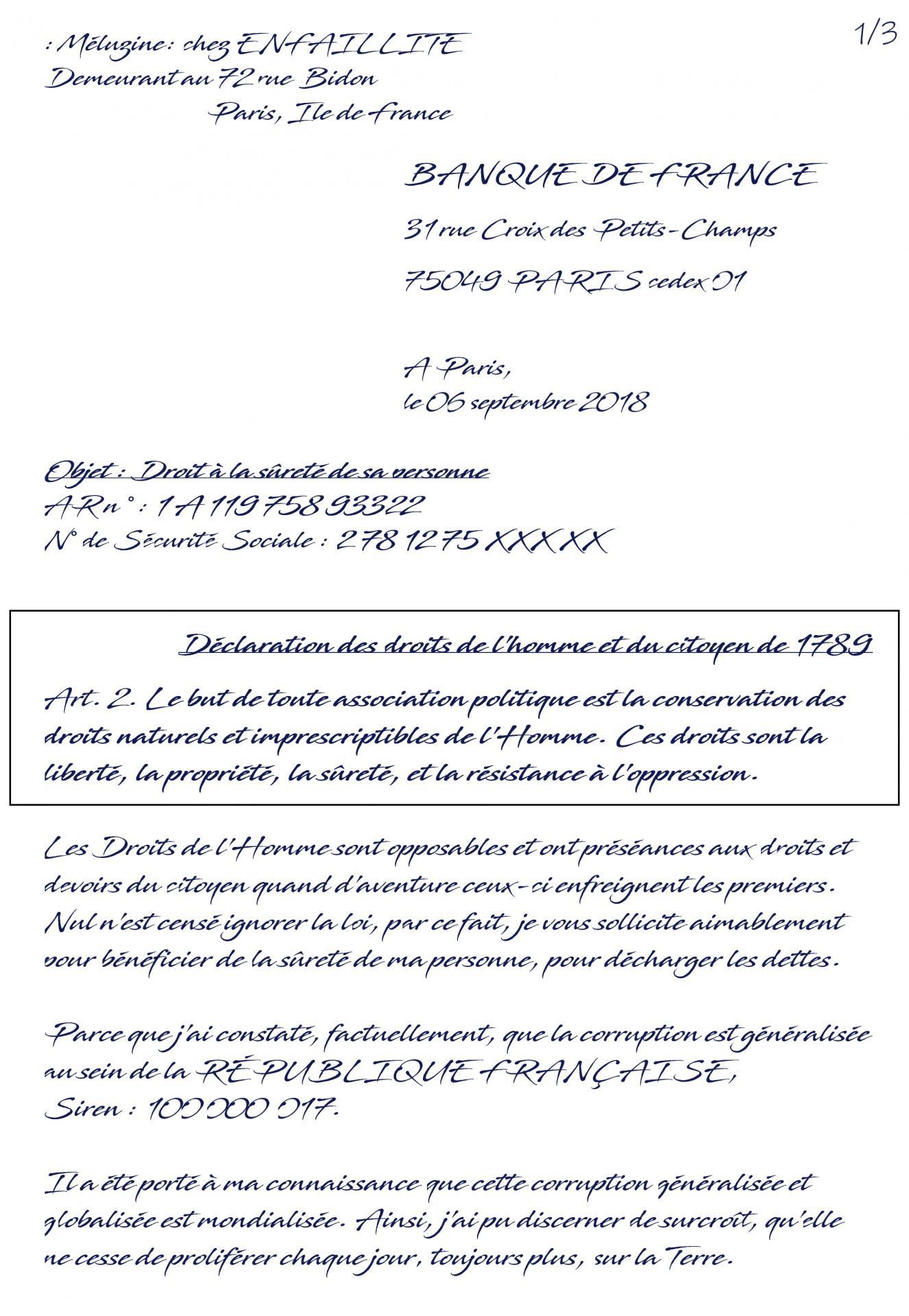 Ex lettre sûreté de sa personne bdf 1