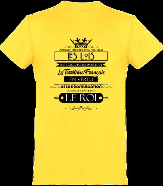7797269 tee shirt homme col rond manches courtes classique 150 gr tshirt homme les lois doivent etre promulguees par le roi face
