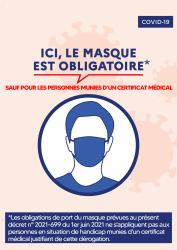 Affiche art 2 decret 2021 699 du 1er juin 2021 port du masque sauf pour les personnes munies d un certificat medical